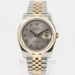 Rolex Datejust 36mm Stainless Steel and Yellow Gold Jubilee Bracelet Rhodium Roman Numeral Dial Fluted Bezel Watch 116233 Beverly Hills Watch Company Watch Store