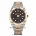 Rolex Datejust 41mm 18k Rose Gold Stainless Steel Automatic Chocolate Dial 126301 AY6ACJ - Beverly Hills Watch Company