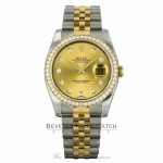 Rolex Datejust 36mm Stainless Steel and 18k Yellow Gold Jubilee Bracelet Diamond Bezel 116243 0EUML3 - Beverly Hills Watch Company