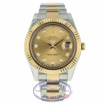Rolex Datejust II 41mm Champagne Diamond Dial Stainless Steel Yellow Gold Oyster Bracelet 116333 AP2R4R - Beverly Hills Watch Company