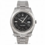 Rolex Datejust II 41mm Stainless Steel Oyster Bracelet White Gold Fluted Bezel Black Roman Dial Automatic Watch 116334 - 5E0HL1