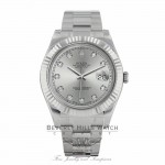 Rolex Datejust II 41MM 18k White Gold Fluted Bezel Slate Diamond Dial 116334 PUFZ5M - Beverly Hills Watch Company Watch Store