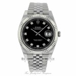 Rolex Datejust 41mm Stainless Steel 18k White Gold Fluted Bezel 126334 9U3ECE - Beverly Hills Watch