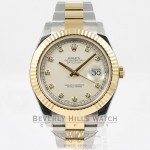 Rolex Datejust II Stainless Steel and Yellow Gold Oyster Bracelet Fluted Bezel Ivory Diamond Dial Watch 116333 Beverly Hills Watch Company Watches