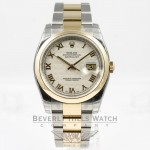 Rolex Datejust 36mm Stainless Steel and Yellow Gold Oyster Bracelet Domed Bezel Ivory Pyramid Roman Numeral Dial Watch 116203 Beverly Hills Watch Company Watches