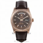 Rolex Day Date 36MM Everose Chocolate Dial Tobacco Alligator Strap 118135 WAVJJ3 - Beverly Hills Watch Store