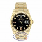 Rolex Day-Date President 36mm Yellow Gold Fluted Bezel Black Diamond and Ruby Dial 118238 JN1R9E