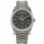 Rolex Day-Date 40mm 18k White Gold Fluted Bezel Dark Rhodium Stripe Motif Dial 228239 QJ8N0M - Beverly Hills Watch Company