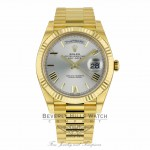 Rolex Day-Date President 40MM 18k Yellow Gold Fluted Bezel Silver Dial Roman Numeral President Bracelet 228238 2D4XT4 - Beverly Hills Watch Company