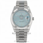Rolex Day Date 40mm Ice Blue Dial Platinum 228206 J9AH8U - Beverly Hills Watch Company
