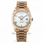 Rolex Day-Date 40 White Dial 18K Rose Gold President 228235 KLTPJJ - Beverly Hills Watch Company