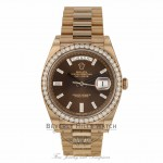 Rolex Day-Date 40mm Everose Gold President Chocolate Diamond Baguette Dial 228345RBR WPKD18 - Beverly Hills Watch