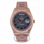 Rolex Day Date II 41MM Rose Gold President Bracelet Black Stealth Matte Dial 218235 AZZ8VA - Beverly Hills Watch Company