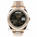 Rolex President Day Date II Everose Gold President Bracelet Black Wave Dial 41mm Watch 218235 Beverly Hills Watch Company Watches