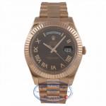 Rolex Day Date II 41mm Everose Chocolate Watch 218235 MQY35J - Beverly Hills Watch Company Watch Store