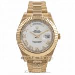 Rolex Day-Date II President 18K Yellow Gold Fluted Bezel 218238 MXCCR1 - Beverly Hills Watch Company Watch Store
