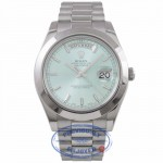 Rolex Day-Date II President 41MM Platinum Ice Blue  Index Markers Dial 218206 3CML8Q - Beverly Hills Watch Company Watch Store