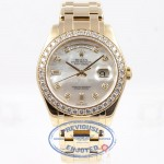 Rolex Day-Date Masterpiece 18K Yellow Gold Bracelet Mother of Pearl Diamond Dial Full Diamond Bezel Watch 18948 Beverly Hills Watch Company Watch Store