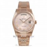 Rolex Day-Date 36MM 18k Rose Gold Domed Bezel Pink Roman 118205 7ZX1Z8 - Beverly Hills Watch Company Watch Store