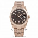 Rolex Day-Date 36mm Rose Gold Oyster Bracelet Bronze Diamond/Ruby Dial 118205 KVEFLH Beverly Hills Watch Company Watch Store