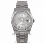 Rolex Day-Date President 36MM 18k White Gold Fluted Bezel Rhodium Dial President Bracelet 118239 DCVEMU - Beverly Hills Watch Company Watch Store
