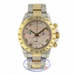 Rolex Daytona Yellow Gold & Steel Black Mother Of Pearl Dial 116523 XVJZM2 - Beverly Hills Watch Company