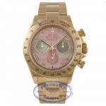 Rolex Daytona 40MM 18k Yellow Gold Pink Mother of Pearl Dial 116528 0H523N - Beverly Hills Watch Company Watch Store