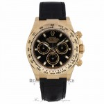 Rolex Daytona 40mm 18K Yellow Gold Black Alligator Strap Black Dial 116518 X25ZWE - Beverly Hills Watch Company