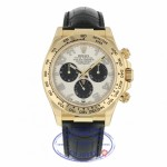 Rolex Daytona 40mm Yellow Gold Ivory Dial Black Sub-Dials Alligator Strap 116518 ZWZP81 - Beverly Hills Watch Company