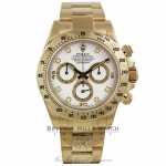 Rolex Cosmograph Daytona White Diamond Dial 18k Yellow Gold Oyster Bracelet 116528 5U51RU - Beverly Hills Watch Company