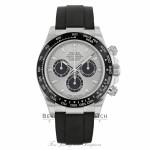 Rolex Daytona 40mm 18k White Gold Silver Dial Oysterflex 116519LN A49TKQ - Beverly Hills Watch Company
