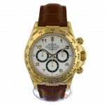 Rolex Daytona Zenith Movement Yellow Gold White Dial Alligator Strap 16518 5NL4L2