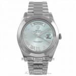 Rolex Day-Date II President 41MM Platinum Ice Blue Roman Diamond Dial 218206 7JR5WE - Beverly Hills Watch Company Watch Store