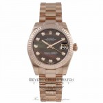 Rolex Datejust 31mm 18k Rose Gold President Bracelet Fluted Bezel Black Mother of Pearl Diamond Dial 178275 J45JUU - Beverly Hills Watch Company