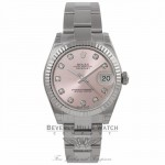 Rolex Datejust 31MM Stainless Steel 18k White Gold Fluted Bezel Pink Diamond Dial 178274 ATHQZH - Beverly Hills Watch Company Watch Store