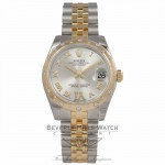 Rolex Oyster Date-Just Yellow Gold Stainless Steel Diamond Bezel Silver Dial 178343 MUTA6R - Beverly Hills Watch Store