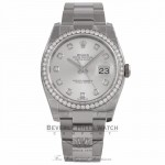 Rolex Datejust 36MM 18k White Gold Diamond Bezel Silver Diamond Dial 116244 C5P3X1 - Beverly Hills Watch Company Watch Store