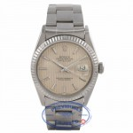 Rolex Datejust 36mm Stainless Steel White Gold Fluted Bezel Ivory Dial 16234 YA5KXM - Beverly Hills Watch Store