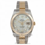 Rolex Datejust 36MM 18k Yellow Gold Stainless Steel Domed Bezel Mother of Pearl Diamond Dial 116203 XZR1N8 - Beverly Hills Watch Company Watch Store