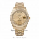 Rolex Day-Date President Bracelet 18K Yellow Gold Fluted Bezel Champagne Diamond Dial 118238 - Beverly Hills Watch Company Watch Store