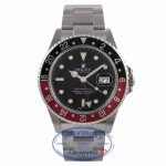 "Rolex GMT Master Black/ Red ""Coke"" Bezel Stainless Steel 16710 X4NXEH - Beverly Hills Watch Company Watch Store"