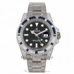 Rolex GMT MASTER II 40mm White Gold Diamond Lugs Diamond and Blue Sapphires Bezel Watch 116759SA Z5MMW3 - Beverly Hills Watch Company Watch Store