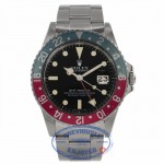 Rolex GMT Master 40MM Stainless Steel Blue/Red Bezel (Pepsi Bezel) Black Dial 16750 898DY5 - Beverly Hills Watch Company Watch Store