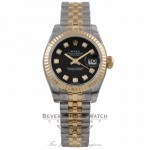Rolex Datejust Ladies Yellow Gold Stainless Steel Fluted Bezel Black Diamond Dial 179173 48ZLRX - Beverly Hills Watch Company Watch Store
