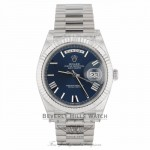 Rolex Day-Date 40 Blue Dial 18K White Gold President Watch 228239 XLVDLX - Beverly Hills Watch Company