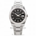 Rolex Oyster Perpetual Date 34mm 18k White Gold Fluted Bezel Black Dial 115234 - Beverly Hills Watch Company Watch Store