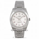 Rolex Air-King Watch, Domed Bezel, Silver Dial/Pink Index 114200 JXK1DQ  - Beverly Hills Watch Company Watch Store
