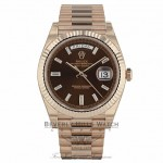 Rolex Day-Date 40mm Everose Chocolate Dial Diamond Baguette President Bracelet 228235 7LZNK6 - Beverly Hills Watch Company