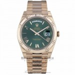 Rolex Day-Date 40mm Green Dial Everose Gold President Bracelet 228235 ZCFJ30 - Beverly Hills Watch Company