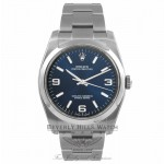 Rolex Oyster Perpetual 36mm Stainless Steel Blue Dial 116000 YQRXT3 - Beverly Hills Watch Store